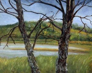 Atoka Lake Plein Air oil painting by Yeshua's Child Art