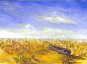 ByTheShore, original acrylic seascape of boat and sand by Yeshua's Child Art