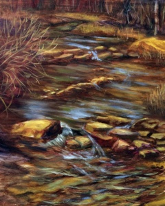 original oil landscape of stream and rocks by yeshuas child art