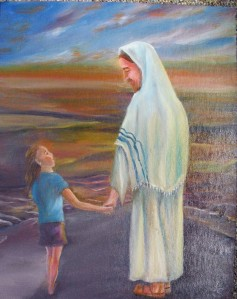 Yeshua and child on beach