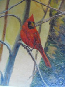 Cardinal oil painting by Yeshua's Child Artist