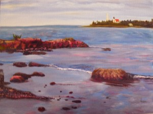 michigan lighthouse oil painting