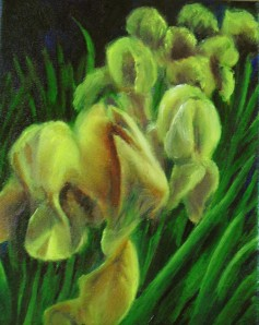 Original oil painting of yellow iris in a spring garden by Yeshua's Child Art