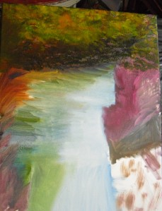 North Michigan river painting roughout (art lesson)