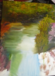 part two of lesson on painting a river landscape