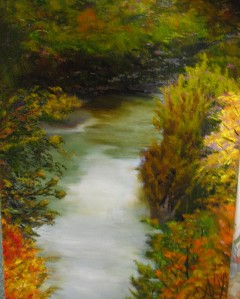 North Michigan River landscape painting by Yeshua's Child Art