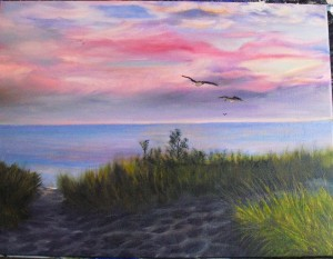 """Lake Michigan Nocturne"" an original oil painting landscape of Lake Michigan at sunset by Yeshua's Child Art"