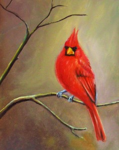 Original oil painting of a cheery red cardinal on a branch by Yeshua's Child Art