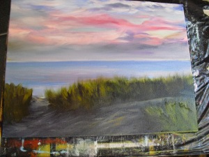 Step two in creating a Lake Michigan Landscape: color blockout