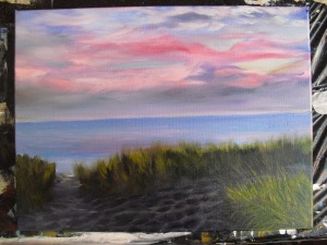 Lake Michigan landscape painting with more detail
