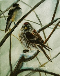 Original oil painting of a sparrow and a chickadee in the Michigan winter