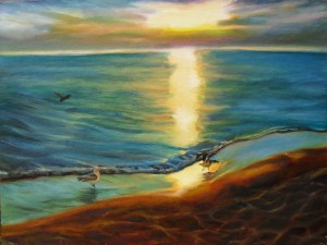 Seagulls on the beach at Lake Michigan, an original oil painting by Yeshua's Child Art