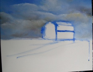 How to paint a barn, lesson 1, sky blocked in