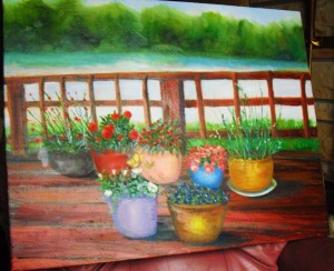 beautiful flowers on a deck, oil painting