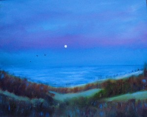 Symphony in Blue, painting of Lake Michigan in oils