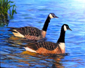 "Lesson in how to paint water reflections, using ""Canadian Geese"" from the Birds of Michigan series by YC Art Studio"