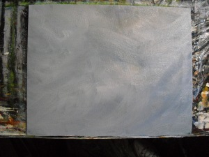 Grays, blues and whites on the background of this bird oil painting