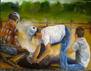 """Branding Day"" depicts 3 ranchers branding a steer"