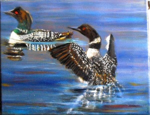 """Wild Loons"" is an oil painting of wild loons on a lake, based upon photos taken by Steve Mac, on the WetCanvas artist site."