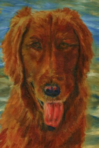 Original oil painting of a golden retriever in front of a lake