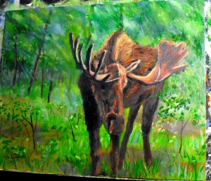 Oil painting of a moose in the woods, based upon a reference photo by stalksthedawn on WetCanvas