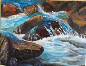 a study of river water over rocks by Yeshua's Child Art