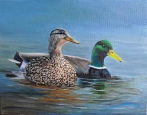 """Mallard Ducks"", part of the Birds of Michigan series of oil paintings"