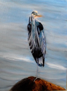Oil painting of a Great Blue Heron by Yeshua's Child Art, part of the Birds of Michigan series