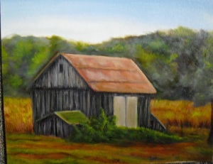 an oil painting of an old gray barn in Michigan's upper peninsula