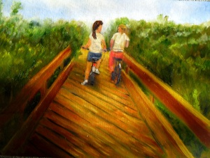 "Summer Bike Ride"" is an original oil painting of two friends biking over a wooden bridge by Yeshua's Child Art"