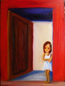 oil painting of a young child in a red doorway