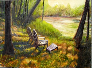 oil painting of lawn chairs in the woods near Baldwin, MI