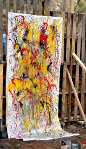 an abstract painting by a group of people having fun