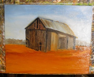 Old Barn oil painting lesson: adding detail to the barn walls