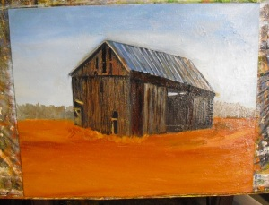 picture of adding more barn and background detail to oil painting of barn