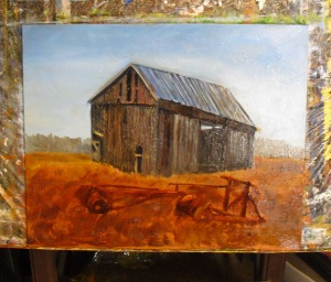 Adding a rusty disc tool and grasses to the foreground