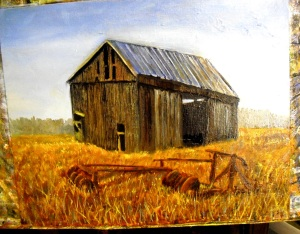 adding yet more details to the foreground and barn