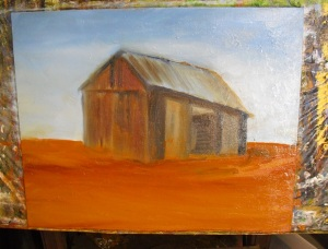 blocking in the barn areas and colors in this free oil painting lesson
