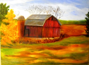 painting of an old red barn in northern Michigan