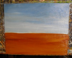 blocking in sky and ground in an old barn painting lesson
