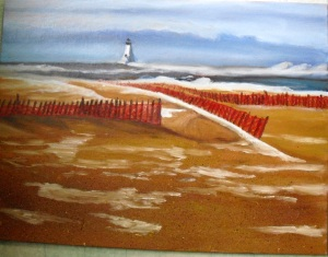 oil painting of the beach at Ludington Michigan with ice and snow in the winter
