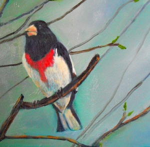 An original oil painting of a rose breasted grosbeak during Michigan spring