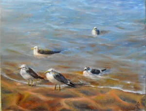 original oil painting of seagulls gathered on the Lake Michigan beach