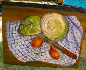 original oil painting of a still life of cabbages, leeks, a cloth and knife by Yeshua's Child Art Studio