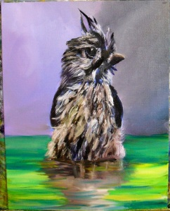 An oil painting of a bird taking a bath in water by Yeshua's Child Art Studio