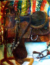 """The Show Saddle"" shows a show saddle and blanket"