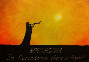 an oil and acrylic painting of teshuvah