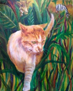 picture of house cat in a jungle setting