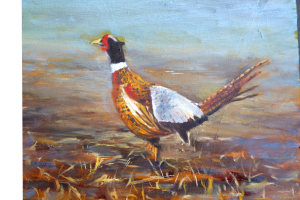 oil painting of a pheasant by Yeshua's Child Art