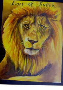 painting of the Lion of Judah by Yeshua's Child Art